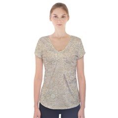 Old Floral Crochet Lace Pattern Beige Bleached Short Sleeve Front Detail Top
