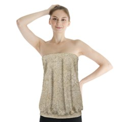 Old Floral Crochet Lace Pattern Beige Bleached Strapless Top