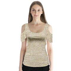 Old Floral Crochet Lace Pattern Beige Bleached Butterfly Sleeve Cutout Tee