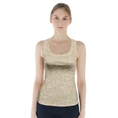Old Floral Crochet Lace Pattern Beige Bleached Racer Back Sports Top