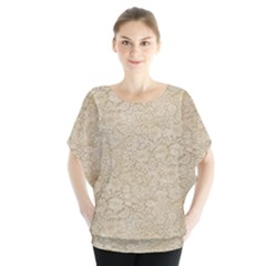 Old Floral Crochet Lace Pattern Beige Bleached Blouse