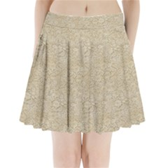 Old Floral Crochet Lace Pattern Beige Bleached Pleated Mini Skirt
