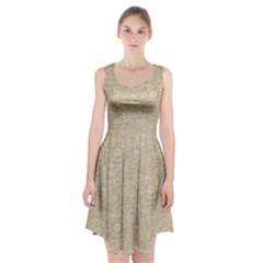 Old Floral Crochet Lace Pattern Beige Bleached Racerback Midi Dress