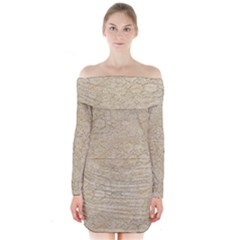 Old Floral Crochet Lace Pattern Beige Bleached Long Sleeve Off Shoulder Dress