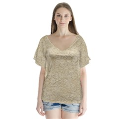 Old Floral Crochet Lace Pattern Beige Bleached Flutter Sleeve Top
