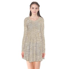 Old Floral Crochet Lace Pattern Beige Bleached Flare Dress
