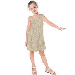 Old Floral Crochet Lace Pattern Beige Bleached Kids  Sleeveless Dress