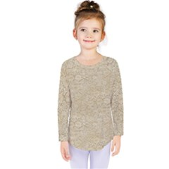 Old Floral Crochet Lace Pattern Beige Bleached Kids  Long Sleeve Tee
