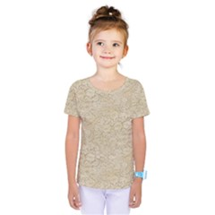 Old Floral Crochet Lace Pattern Beige Bleached Kids  One Piece Tee