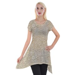 Old Floral Crochet Lace Pattern Beige Bleached Short Sleeve Side Drop Tunic