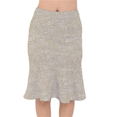 Old Floral Crochet Lace Pattern Beige Bleached Mermaid Skirt