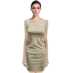 Old Floral Crochet Lace Pattern Beige Bleached Sleeveless Velvet Midi Dress