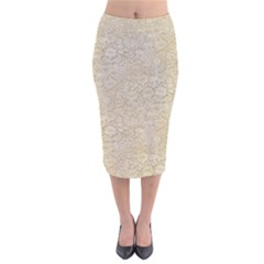 Old Floral Crochet Lace Pattern Beige Bleached Velvet Midi Pencil Skirt