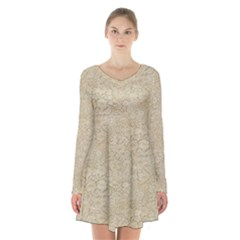 Old Floral Crochet Lace Pattern Beige Bleached Long Sleeve Velvet V Neck Dress