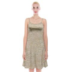 Old Floral Crochet Lace Pattern Beige Bleached Spaghetti Strap Velvet Dress