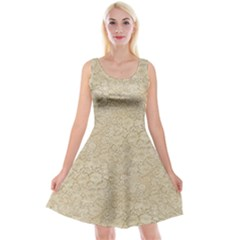 Old Floral Crochet Lace Pattern Beige Bleached Reversible Velvet Sleeveless Dress