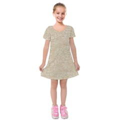 Old Floral Crochet Lace Pattern Beige Bleached Kids  Short Sleeve Velvet Dress
