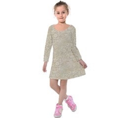 Old Floral Crochet Lace Pattern Beige Bleached Kids  Long Sleeve Velvet Dress