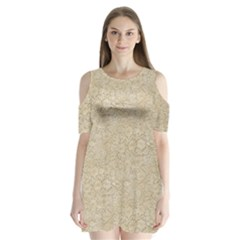 Old Floral Crochet Lace Pattern Beige Bleached Shoulder Cutout Velvet  One Piece