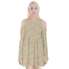 Old Floral Crochet Lace Pattern Beige Bleached Velvet Long Sleeve Shoulder Cutout Dress