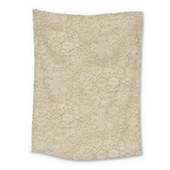Old Floral Crochet Lace Pattern Beige Bleached Medium Tapestry