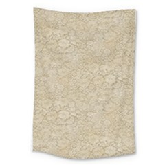 Old Floral Crochet Lace Pattern Beige Bleached Large Tapestry