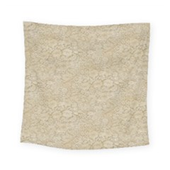 Old Floral Crochet Lace Pattern Beige Bleached Square Tapestry (small)