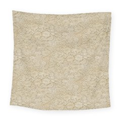 Old Floral Crochet Lace Pattern Beige Bleached Square Tapestry (large)