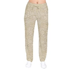 Old Floral Crochet Lace Pattern Beige Bleached Drawstring Pants