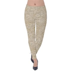 Old Floral Crochet Lace Pattern Beige Bleached Velvet Leggings
