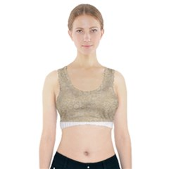 Old Floral Crochet Lace Pattern Beige Bleached Sports Bra With Pocket