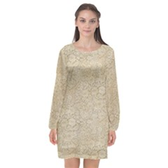 Old Floral Crochet Lace Pattern Beige Bleached Long Sleeve Chiffon Shift Dress