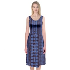 Wrinkly Batik Pattern   Blue Black Midi Sleeveless Dress
