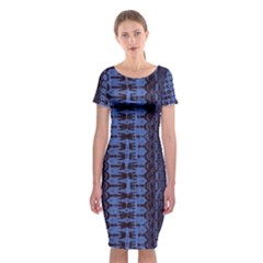 Wrinkly Batik Pattern   Blue Black Classic Short Sleeve Midi Dress