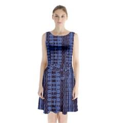 Wrinkly Batik Pattern   Blue Black Sleeveless Waist Tie Chiffon Dress