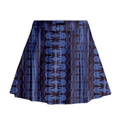 Wrinkly Batik Pattern   Blue Black Mini Flare Skirt