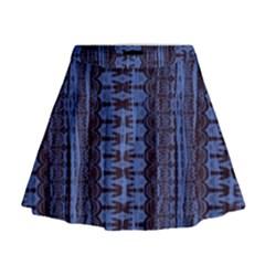 Wrinkly Batik Pattern   Blue Black Mini Flare Skirt