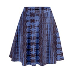 Wrinkly Batik Pattern   Blue Black High Waist Skirt