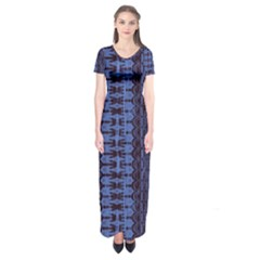 Wrinkly Batik Pattern   Blue Black Short Sleeve Maxi Dress