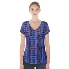 Wrinkly Batik Pattern   Blue Black Short Sleeve Front Detail Top