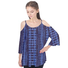 Wrinkly Batik Pattern   Blue Black Flutter Tees