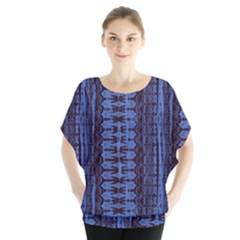 Wrinkly Batik Pattern   Blue Black Blouse