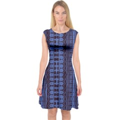 Wrinkly Batik Pattern   Blue Black Capsleeve Midi Dress
