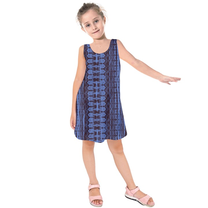 Wrinkly Batik Pattern   Blue Black Kids  Sleeveless Dress