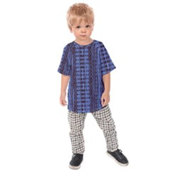Wrinkly Batik Pattern   Blue Black Kids  Raglan Tee