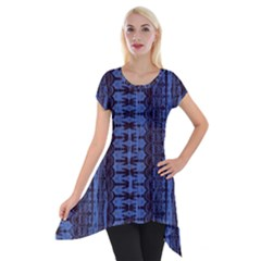 Wrinkly Batik Pattern   Blue Black Short Sleeve Side Drop Tunic