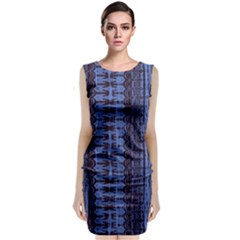 Wrinkly Batik Pattern   Blue Black Sleeveless Velvet Midi Dress