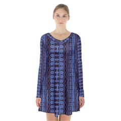Wrinkly Batik Pattern   Blue Black Long Sleeve Velvet V Neck Dress