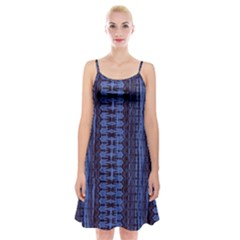 Wrinkly Batik Pattern   Blue Black Spaghetti Strap Velvet Dress