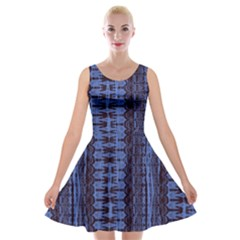 Wrinkly Batik Pattern   Blue Black Velvet Skater Dress